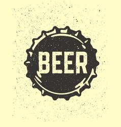 craft beer text emblem on bottle cap vector image vector image