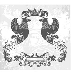 decorative frame with crown and griffin vector image vector image