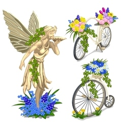 Vintage statue fairies and bikes with flowers vector