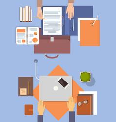 Business people workplace desk hands working vector