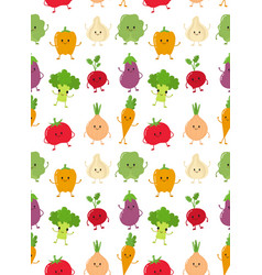 cute happy smiling raw vegetable collection vector image vector image