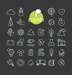 different ecology icons collection web and mobile vector image vector image