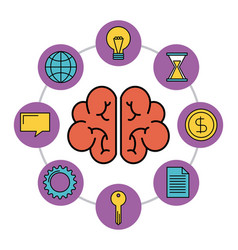 human brain creativity network innovation icons vector image