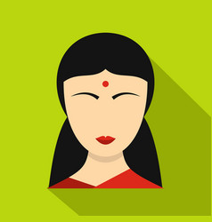 Indian girl icon flat style vector
