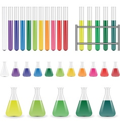 laboratory flasks and test tubes vector image vector image