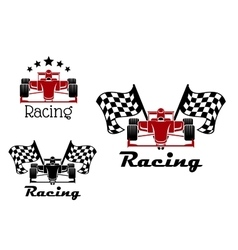 Motor racing sport icons with race cars vector image vector image