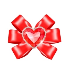 Red bow with heart ruby vector image