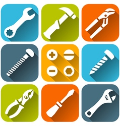 Repair tools white icons set vector image vector image