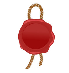 wax seal red stamp with rope vector image