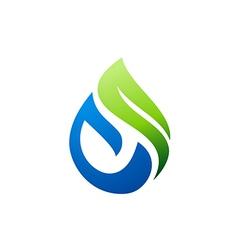 green nature bio water logo vector image vector image