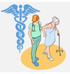 Isometric Healthcare People Set - Senior Patient vector image vector image