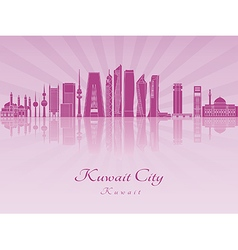 Kuwait City V2 skyline in purple radiant orchid vector image