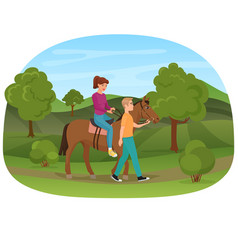 man leading the horse with the woman riding on it vector image vector image