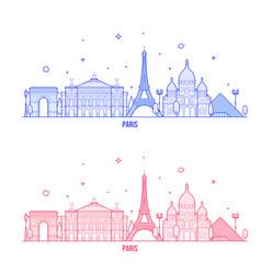 paris skyline france city notable buildings vector image