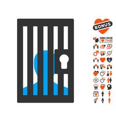prison door icon with valentine bonus vector image vector image