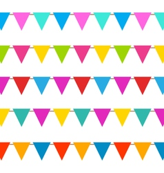 Set Hanging Bunting Pennants Colorful Decoration vector image vector image