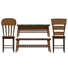 Wooden chairs and tables vector image vector image