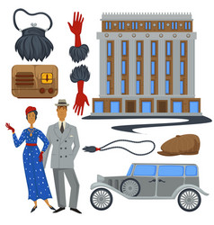 1930s fashion style and architecture clothes and vector