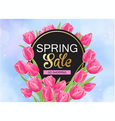 8 march spring banner with pink tulips vector image