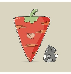 Adorable Valentine rabbit looking at big carrot vector
