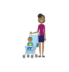 African mother baby son in stroller full length vector