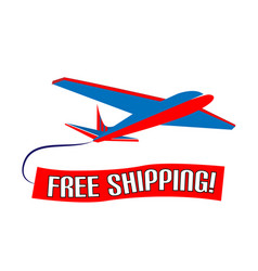 air plane free shipping slogan design vector image