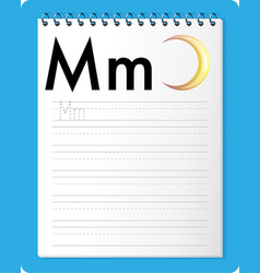 alphabet tracing worksheet with letter m and m vector image