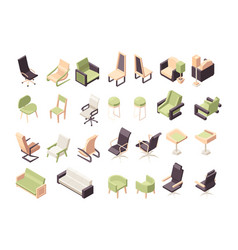 armchairs isometric office furniture modern low vector image