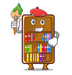 Artist mascot bookcase beside the study desk vector