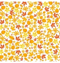 Autumn falling maple and oak leaves seamless vector