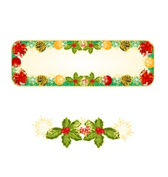 Banner Christmas Spruce with red ribbons vector image