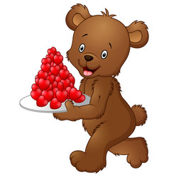 bear carrying a plate of red heart vector image