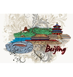 Beijing doodles with floral vector