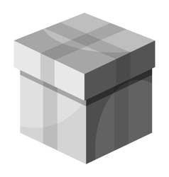 Box with lid icon gray monochrome style vector