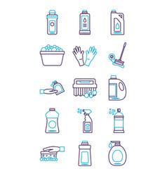 Bundle desinfectants set icons vector