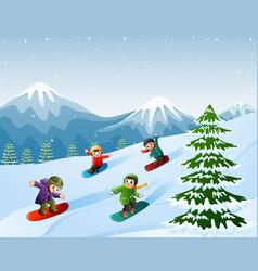 children snowboarding on the snow vector image