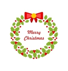 christmas wreath made holly berries vector image