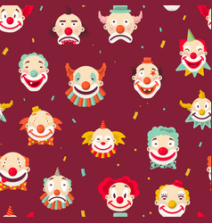circus clowns faces seamless pattern jokers vector image