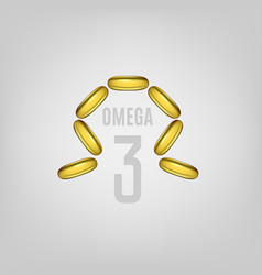 cosmetic capsule of omega 3 oil golden antibiotic vector image
