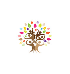 Creative people tree logo vector