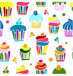 cupcakes collection seamless pattern for your vector image