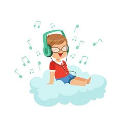 Cute little boy sitting on cloud listening music vector