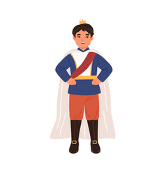 Cute prince with crown and in cloak isolated vector