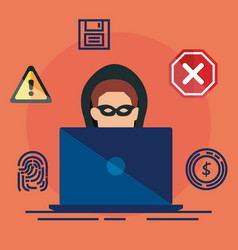 data center security with laptop vector image