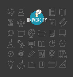 different education icons collection web and vector image vector image