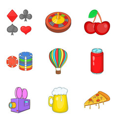 Distraction icons set cartoon style vector