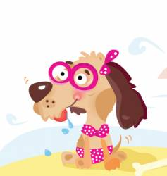 Dog on the beach vector