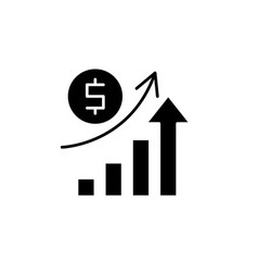 economic growth black icon sign on vector image
