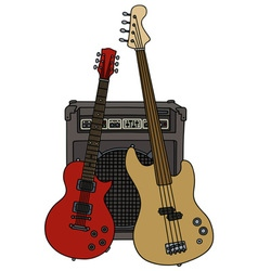 Electric guitars and combo vector