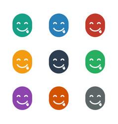 Emot showing tongue icon white background vector